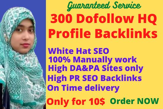 I will create 300 high DA and PA 40 to 95 profile backlinks.
