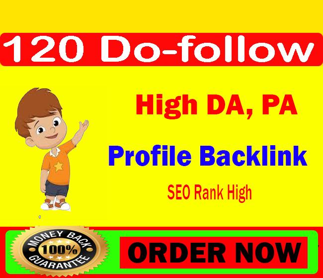 120+ high authority Pr9- Da7 do-follow profile backlinks