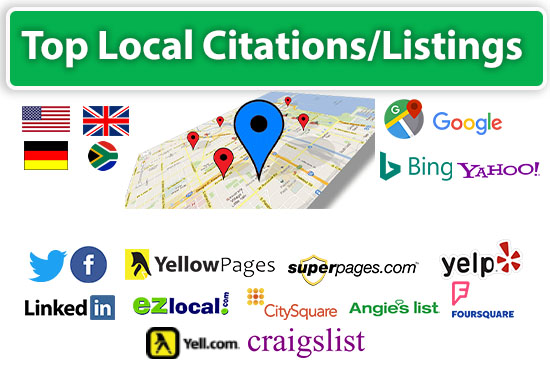 I will do top local SEO citations,  google my business,  maps listing.