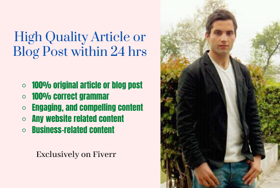 I can Write High-quality,  Engaging Article and Blog Post