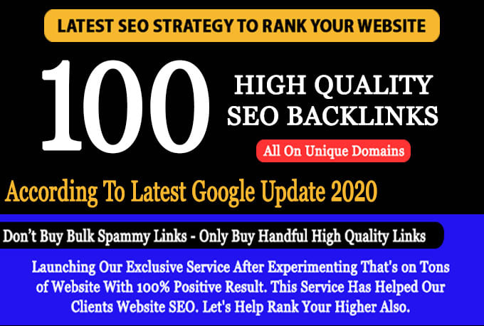 do 100 unique domain exclusive permanent SEO backlinks da 100 to 80