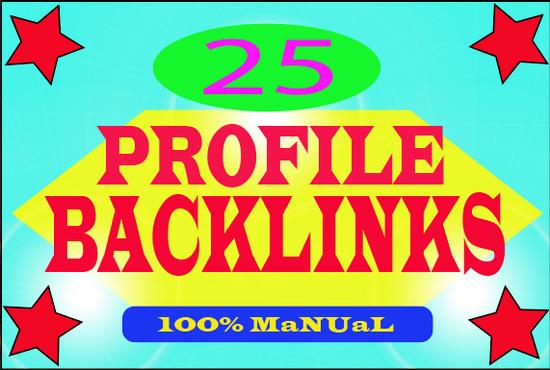 I will provide High Quality 25 Profile Backlinks with DA & PA