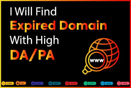 I will find expired domain having backlinks from high authority site