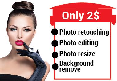 I will do photo editing,  photo retouching, photoshop editing within 24 hour.