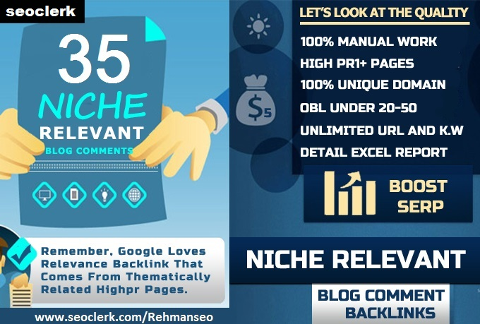 I will provide 35 niche relevant blog comments