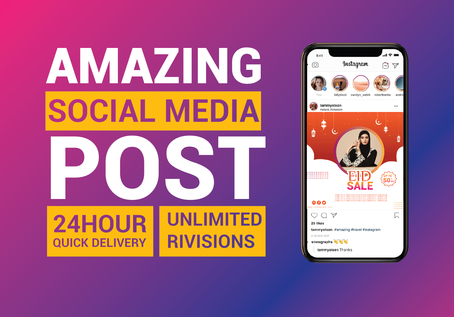 I will design amazing facebook, instagram social media post and google ads