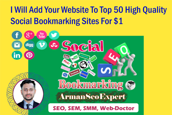 I Will Add Your Website To Top 50 High Quality Social Bookmarking Sites