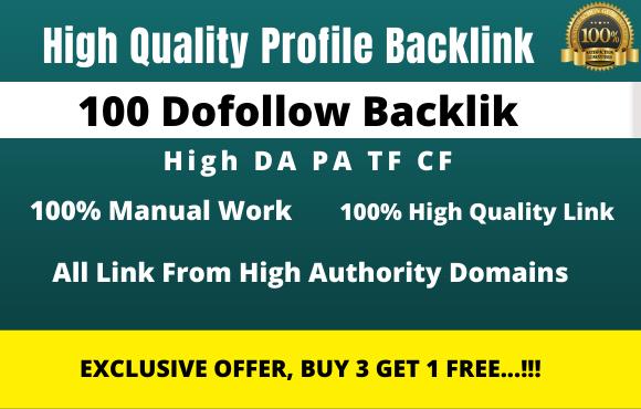 I will manually create 100 authority pr9 da 90 do-follow profile backlinks