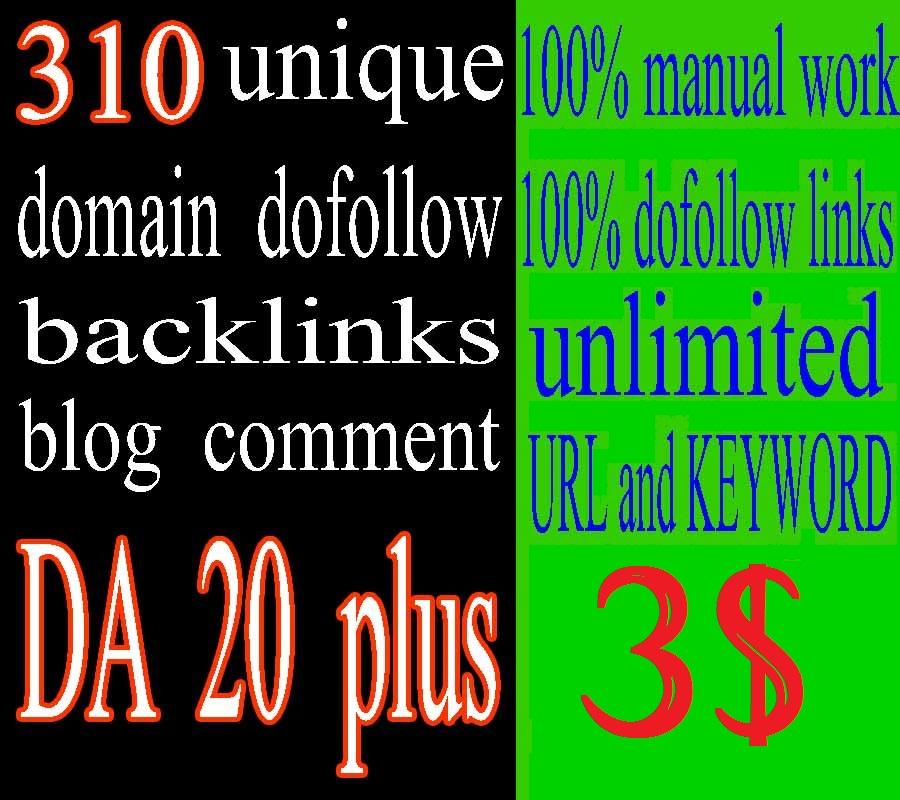 310 Unique Domain manual dofollow Backlinks in DA 20plus