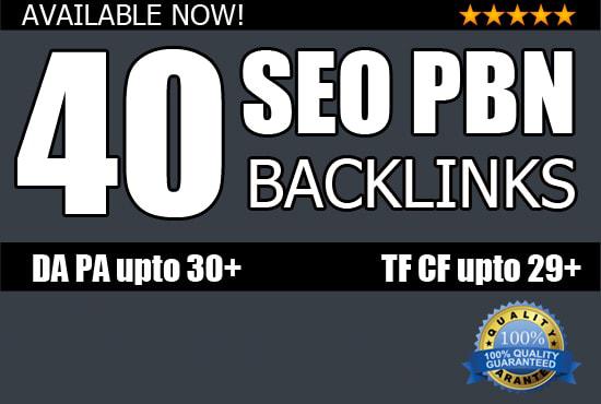 I will do 40 seo pbn backlinks high pa da