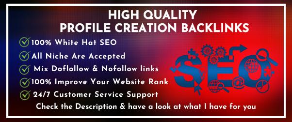 Create 100 High Quality Profile Creation Backlinks.