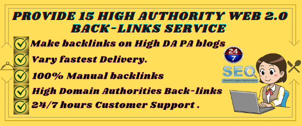 Provide 15 High Authority Web 2.0 Backlinks Service
