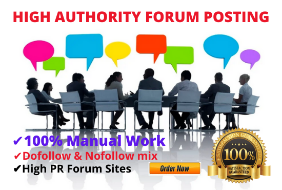I Will Provide High authority DA 55 forum posting backlinks for your Website