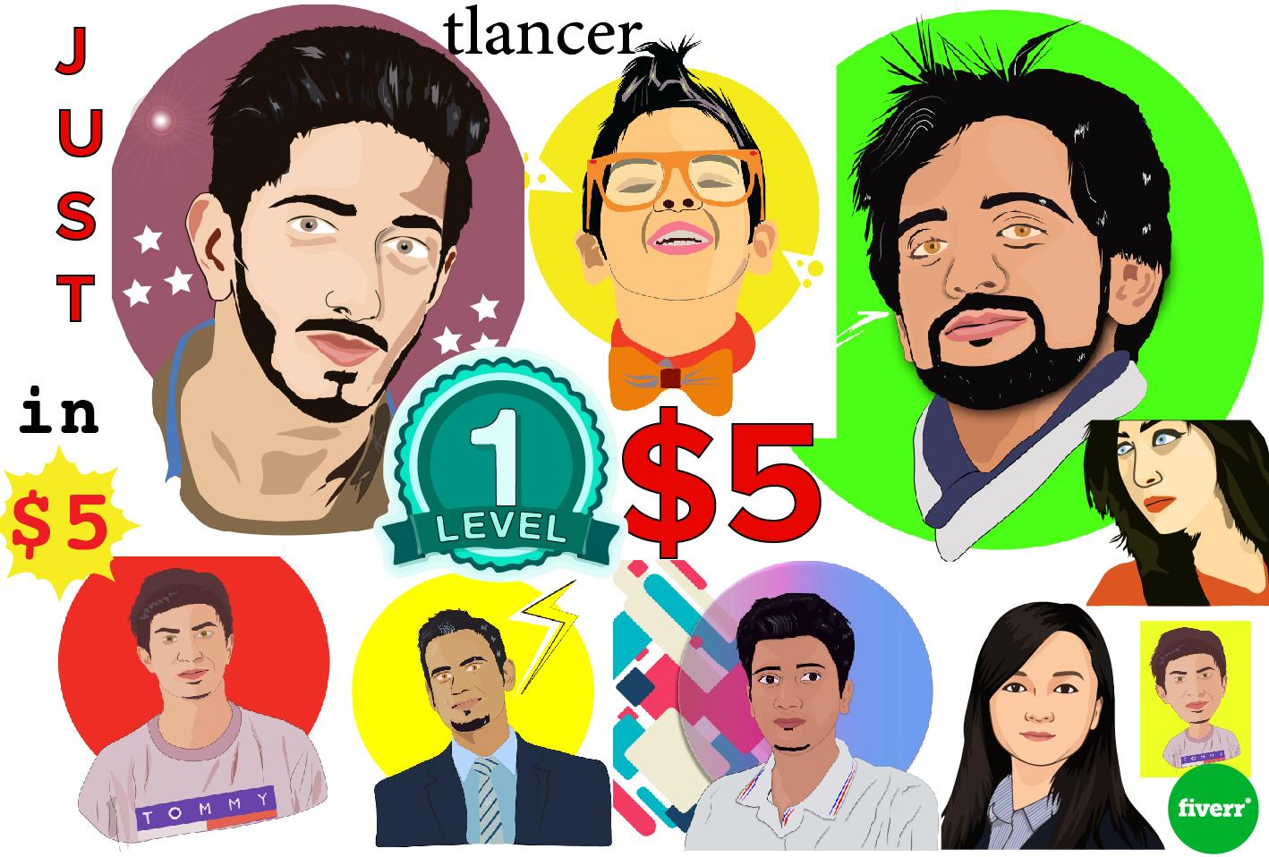 Design cartoon character be a cartoonist vector portrait and caricatures designer