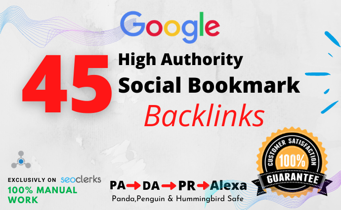 I will create 45 social bookmarking backlinks manually