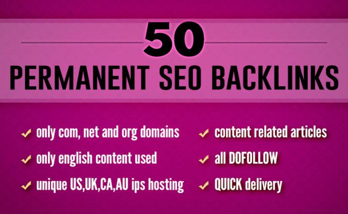 I will do 50 permanent dofollow SEO backlinks for google ranking