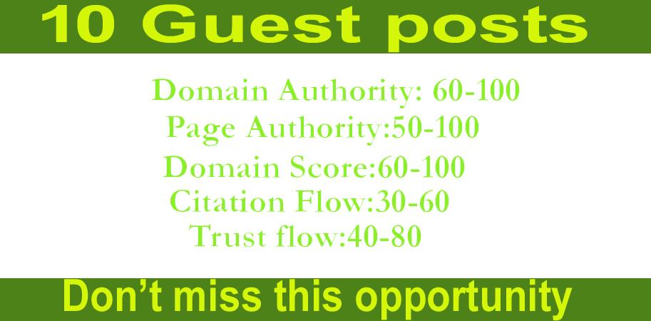 write and publish high quality 10 guest posts on permanent backlinks