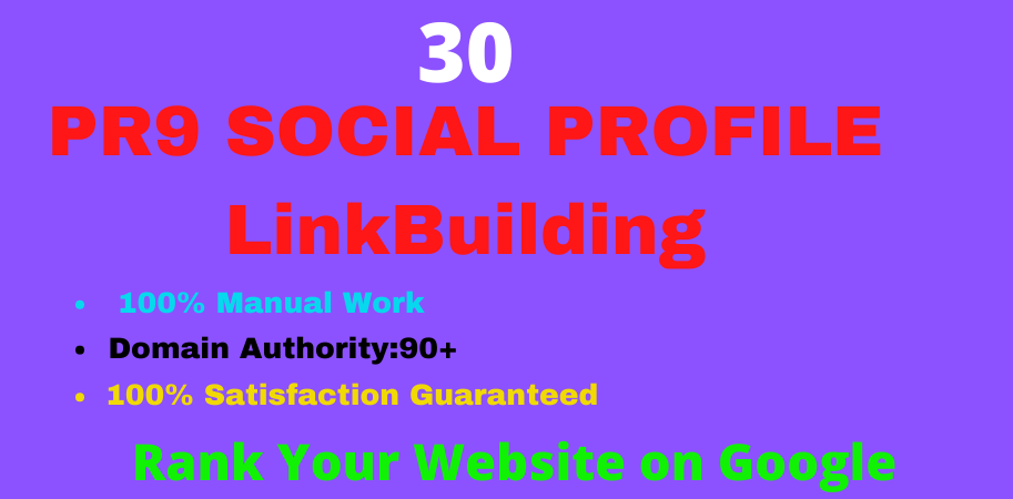 I Will Do 30 Social Media Profiles Backlinks Any websites All Services.