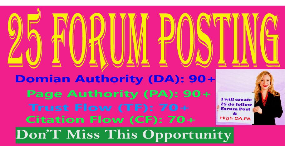 I Will Provide 25 Forum Posting High Authority DA & PA