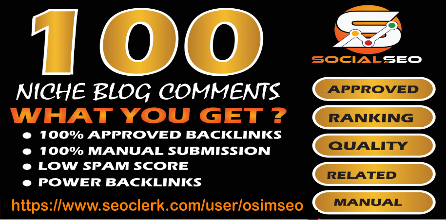 I will Provide 100 High Quality Niche Relevant Blog Comments Backlinks Google Index Guaranteed