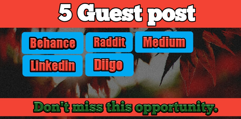 Publish High Authority Guest Post on 5 different site. With High DA.