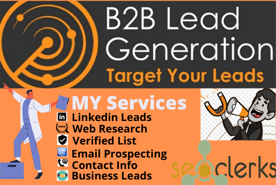 I will do b2b lead generation and GEO targeted lead prospecting
