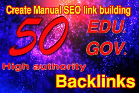 I will create 50 edu gov high authority SEO link building backlink
