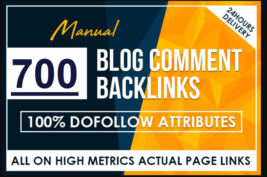 I will do 700 manual dofollow backlinks high tf cf da pa