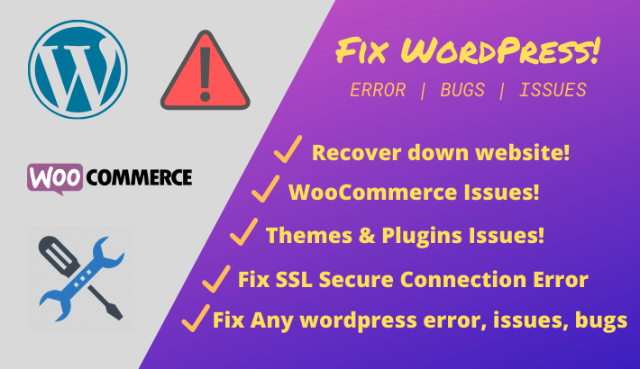 I will fix wordpress error,  issues,  bugs,  within 24hrs