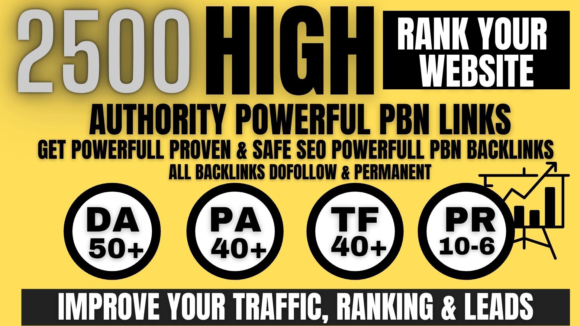 get 2500+permanent Pbn links DA50+PA40+PR6+homepage web 2.0 with do-follow unique site