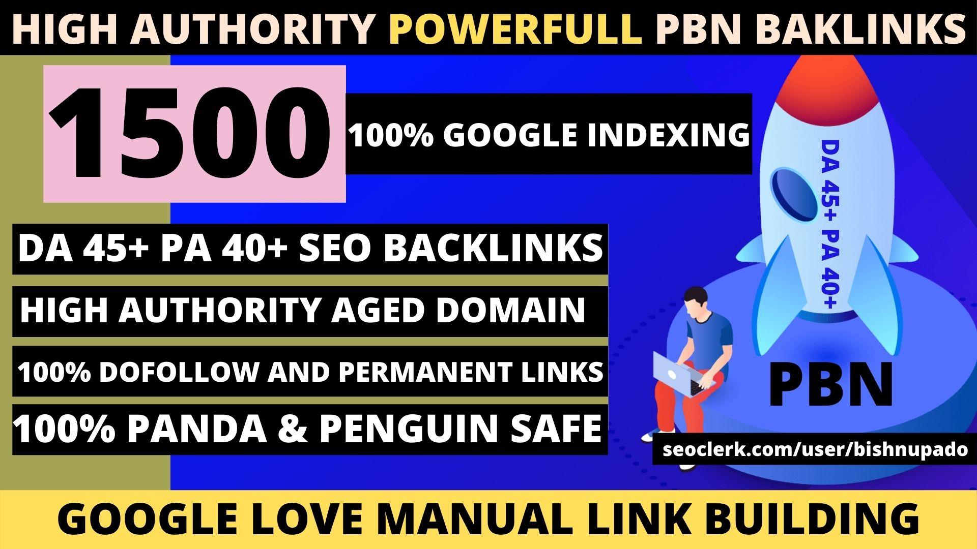 Build Premium 1500 Permanent PBN High DA 45+ PA 40+ PR6+ WEB 2.0 Backlink with Dofollow unique site