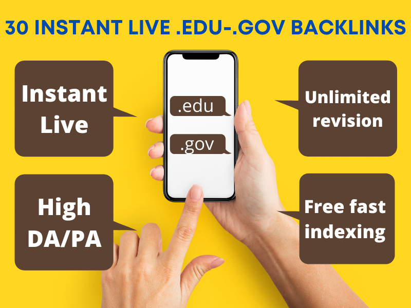 Get 30 instant live. edu. gov high authority backlinks to boost your website on google