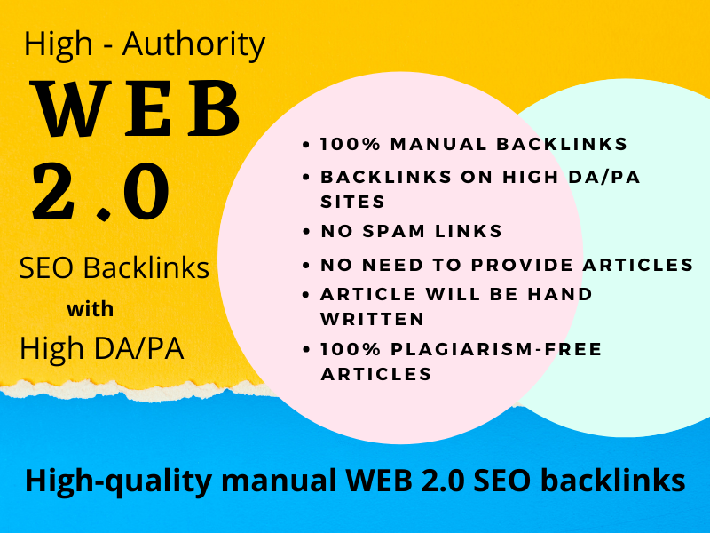 Get high authority white hat dofollow 20 web 2.0 seo manual backlinks on high DA sites