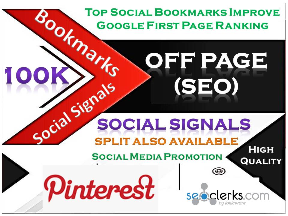 TOP Powerful Site 100K Social Signals Pinterest Bookmark Backlinks with split also available