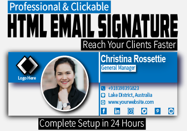 design and install HTML Clickable Email Signature for your branding
