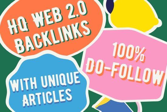 I will Create 10 Manual Web 2.0 Do follow 50-90+Da Backlinks With Login Details