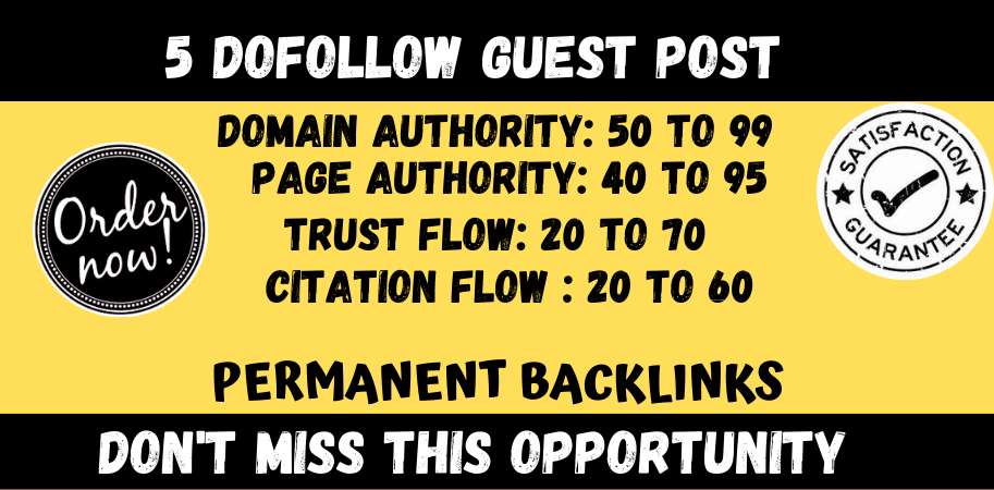 Write And Publish 5 Guest blog Posts On High Authority DA 90+ Sites with permanent backlinks