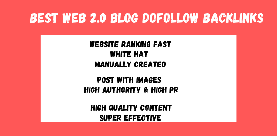 Create High Quality 30+ Web 2.0 Blog Dofollow Permanent Backlinks With Niche Related Article