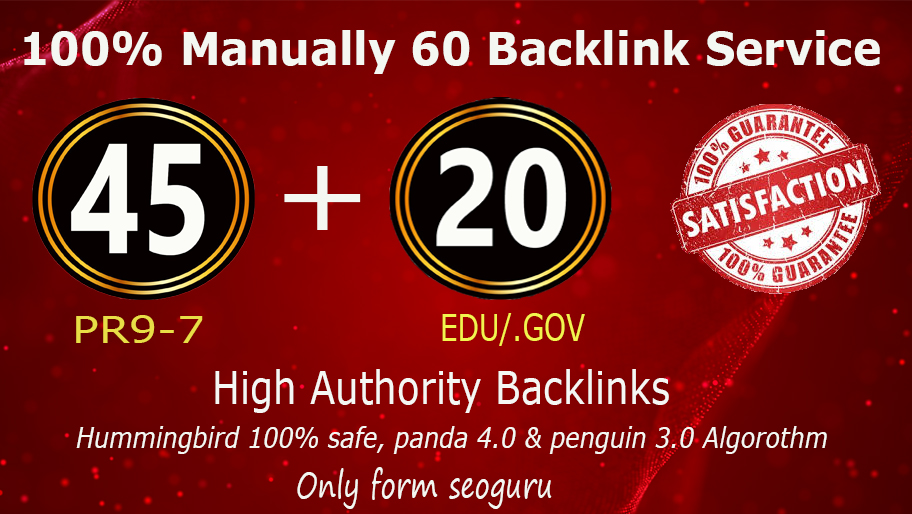 I'll do for you 60+PBN Backlink in your website hompage with HIGH DA/PA/TF/CF with unique websites
