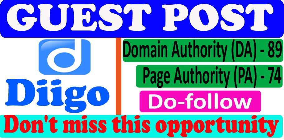 I will write and publish a guest post on Diigo. com DA90