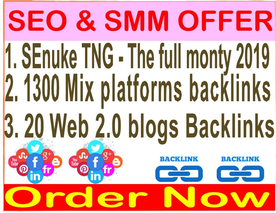Powerful Multi- 3 Tier - SEnuke TNG- The full monty & 1300 Mix Platforms & 20 Web 2.0 Blogs