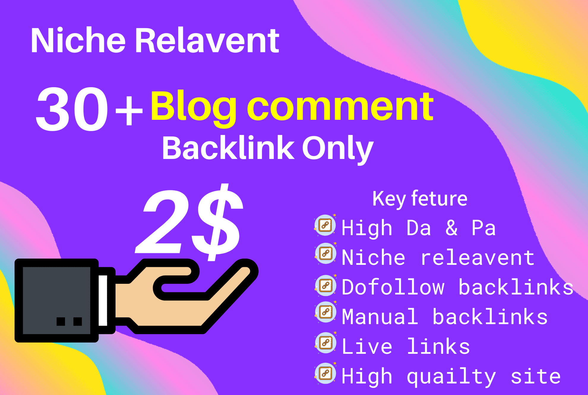 I will do 30+ niche relevant do-follow blog comment backlink