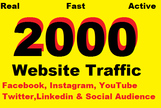 2000 Human Web traffic by Social Media and seo friendly