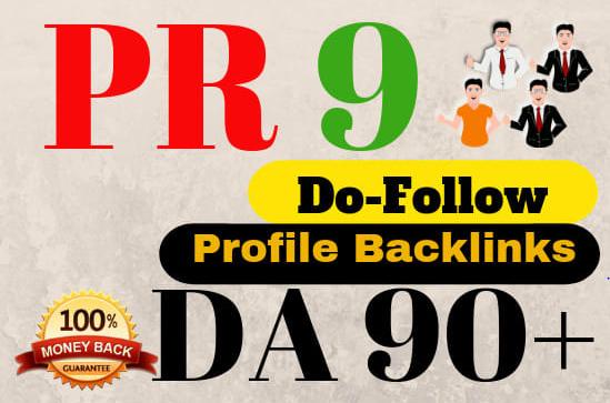 I will create 70 high da dofollow pr9 profile backlinks for rank your website