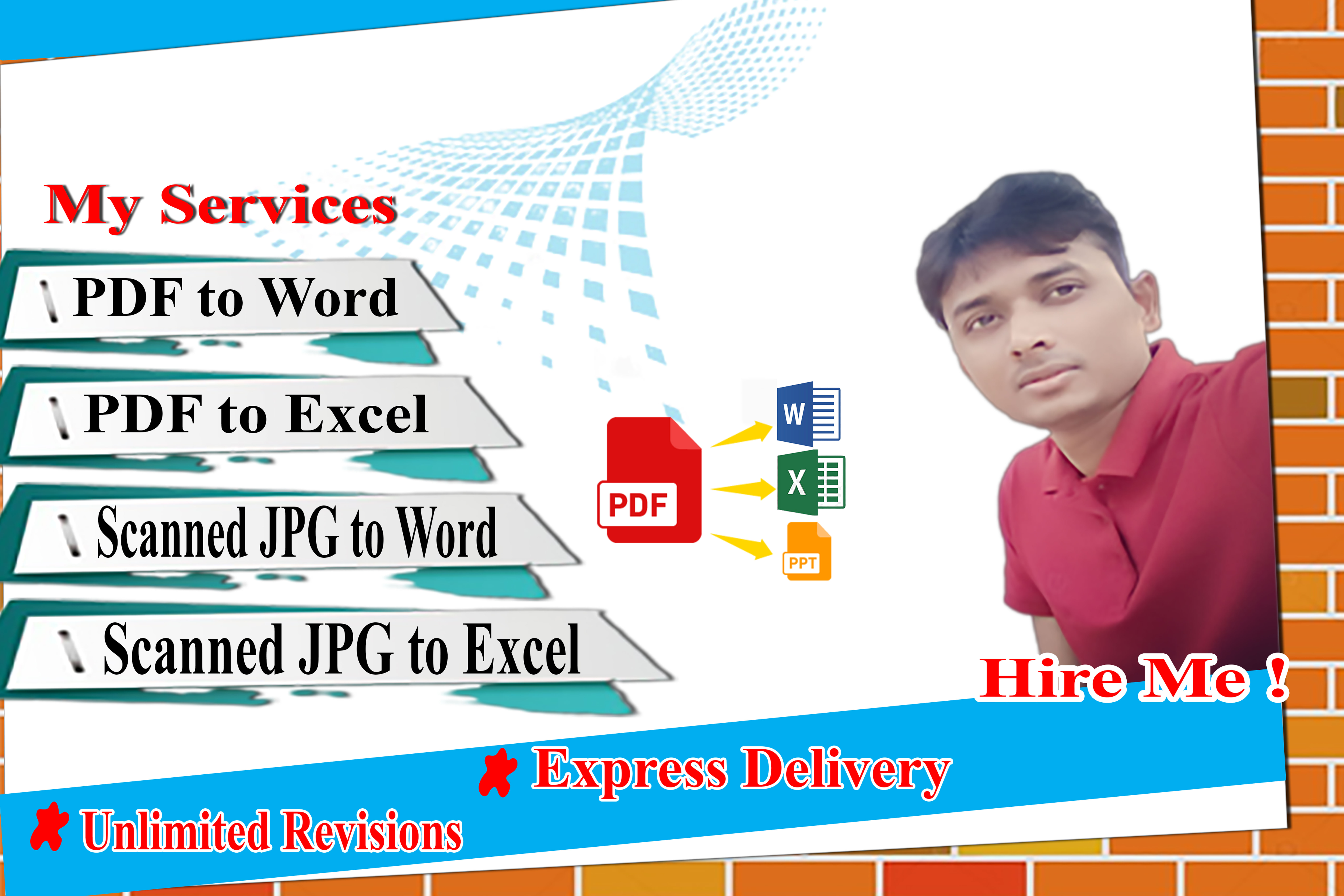 I will do convert PDF image to a word or excel at the right time