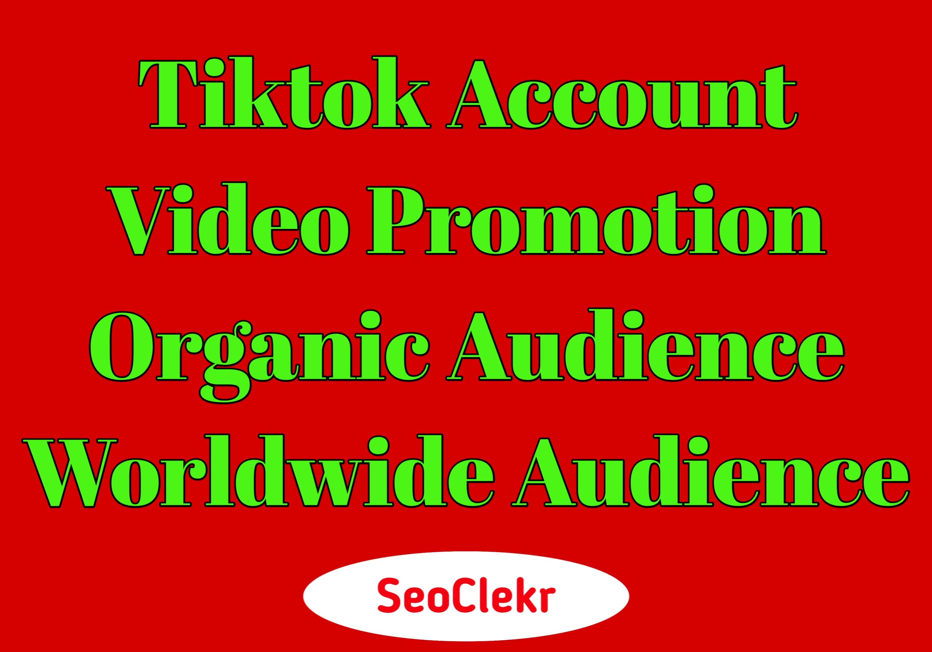 TikTok Video Account Promotion Organic Social Real Audience