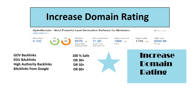 I will increase domain rating,  increase ahrefs domain rating,  increase DR 50 plus