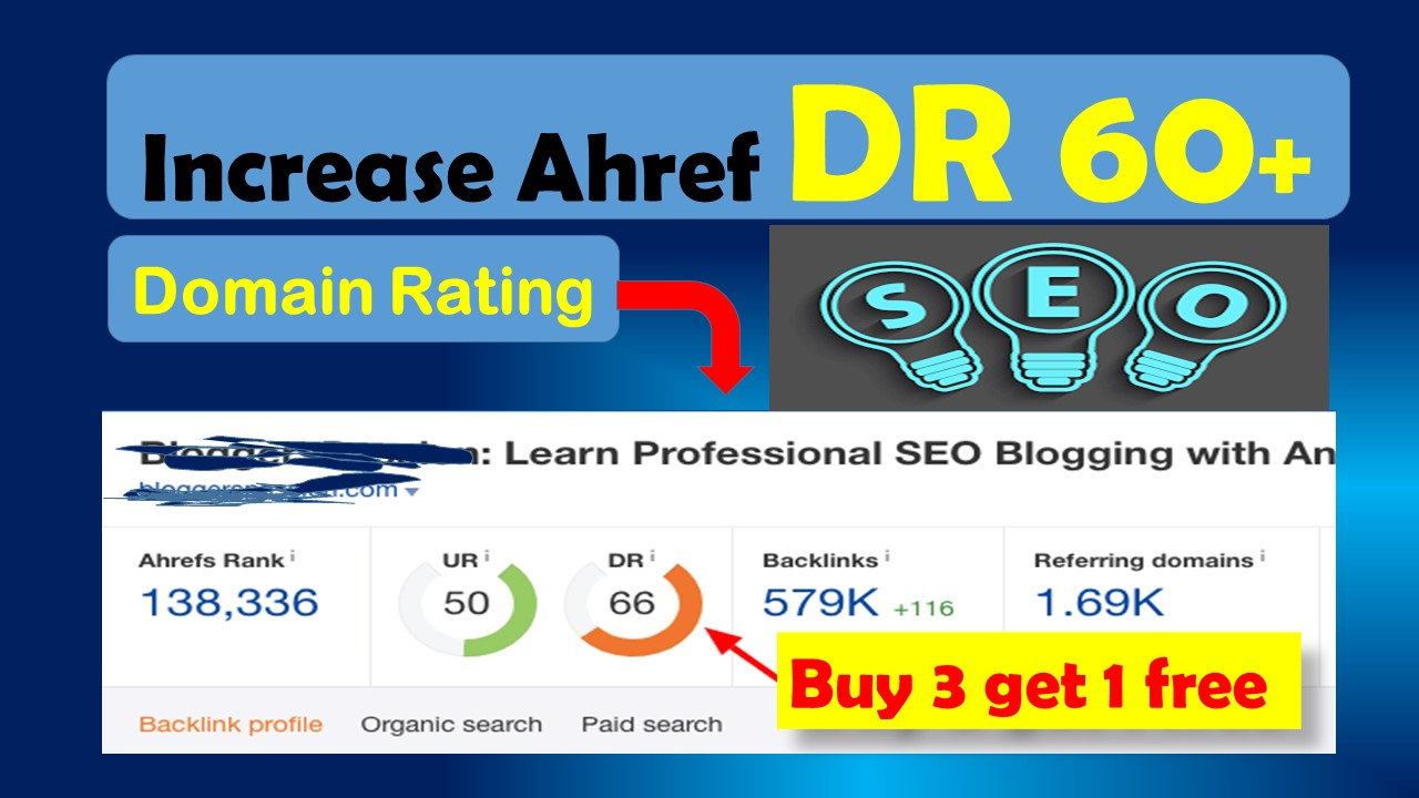 Increase domain rating DR 56 to 60 plus with authority backlinks