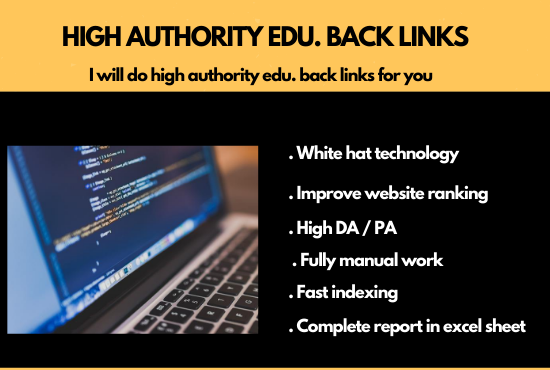 I will provide edu back links with high domain authority for you