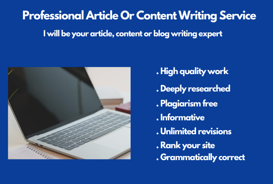 I will do article,  content or blog writing for you